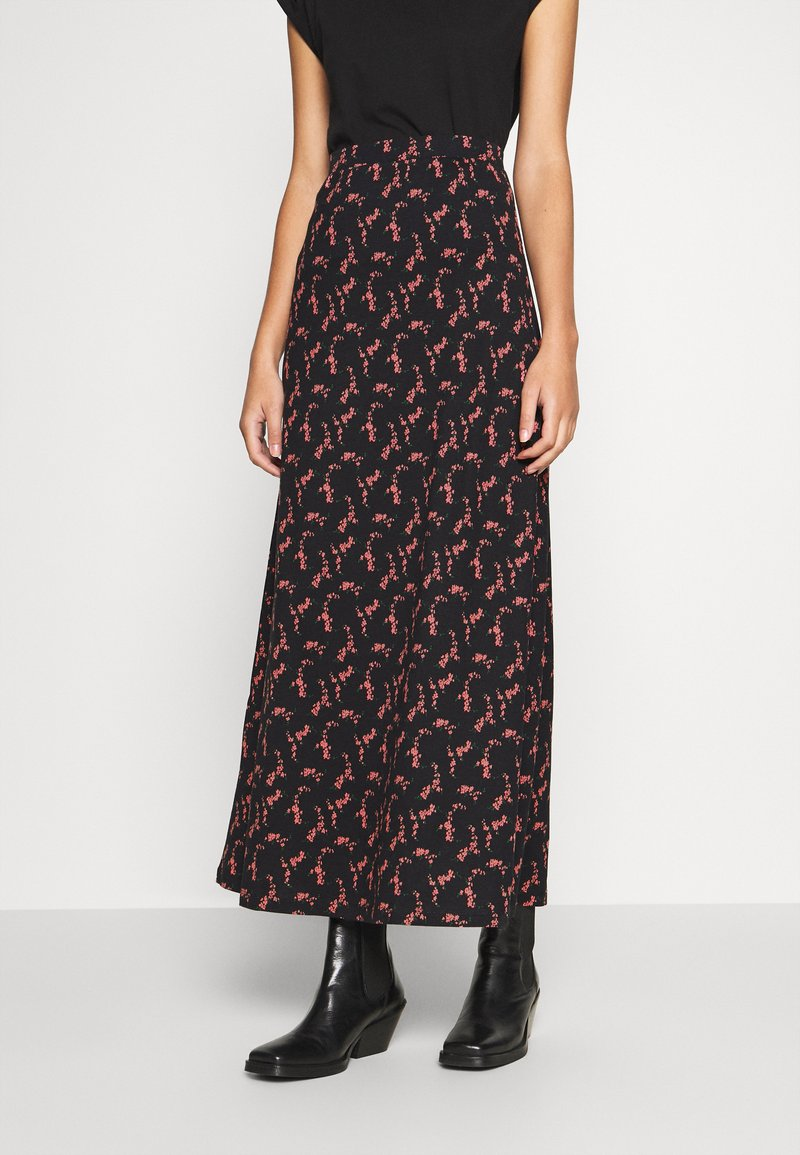 Anna Field - BASIC - Maxi skirt - Maxi sukně - black/rose