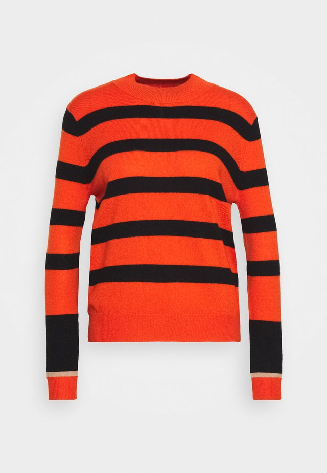 STRIPE MOCKNECK - Jumper - orange/black