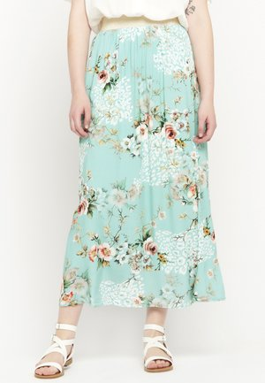 FLORAL AND ANIMAL - Maxi skirt - licht green