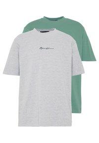 Mennace - ESSENTIAL SIGNATURE TEE 2 PACK - Basic T-shirt - teal/grey marl - 0