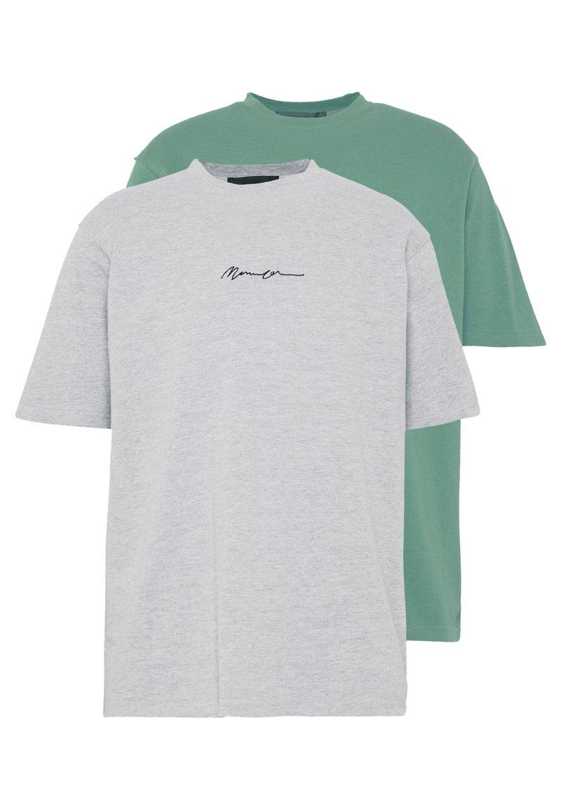 Mennace - ESSENTIAL SIGNATURE TEE 2 PACK - Basic T-shirt - teal/grey marl