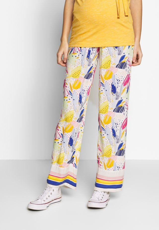 MATERNITY PRINTED WIDE TROUSER - Pantaloni - white/pink