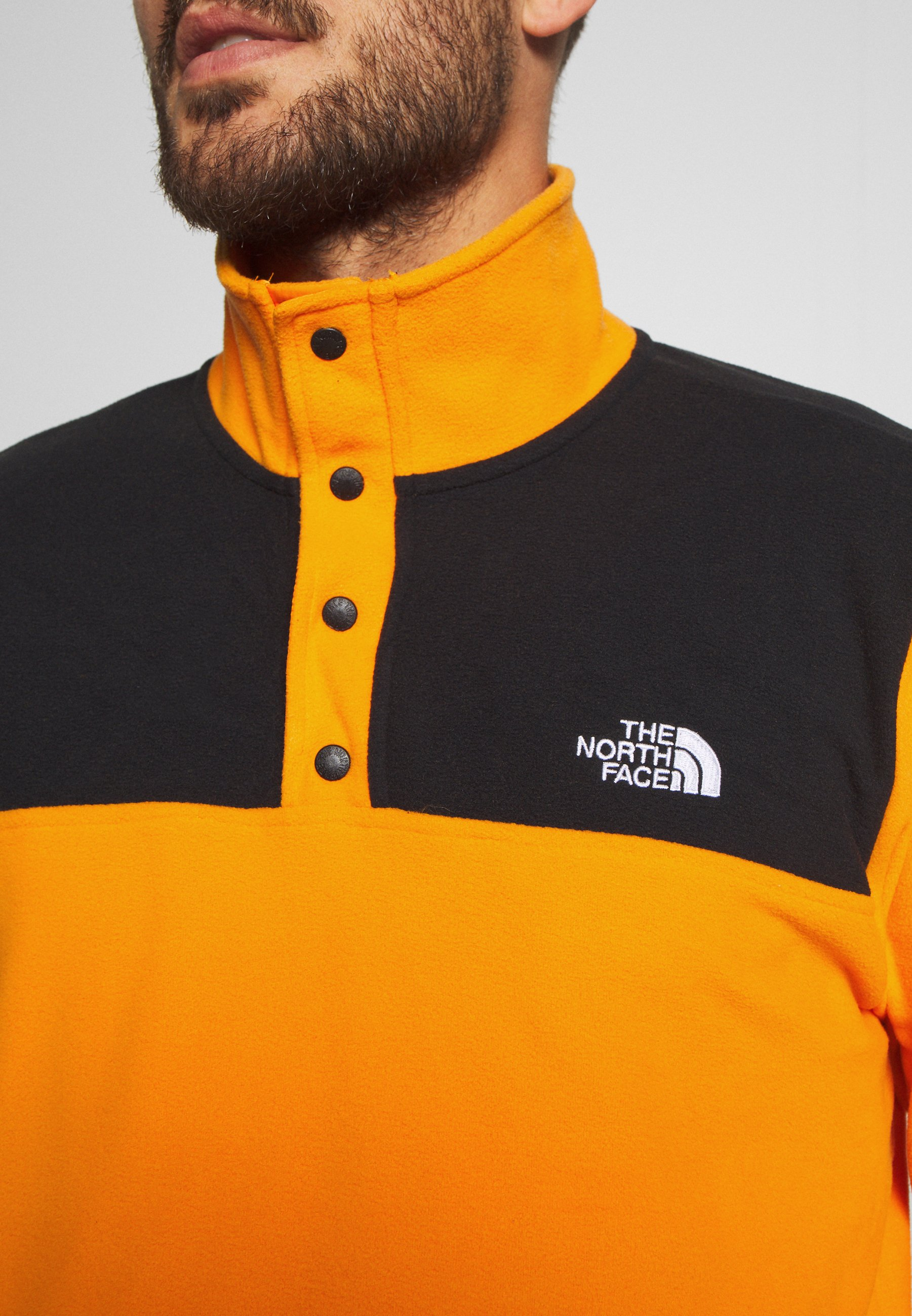 The North Face MENS GLACIER SNAP NECK - Sweat polaire - flame orange/black