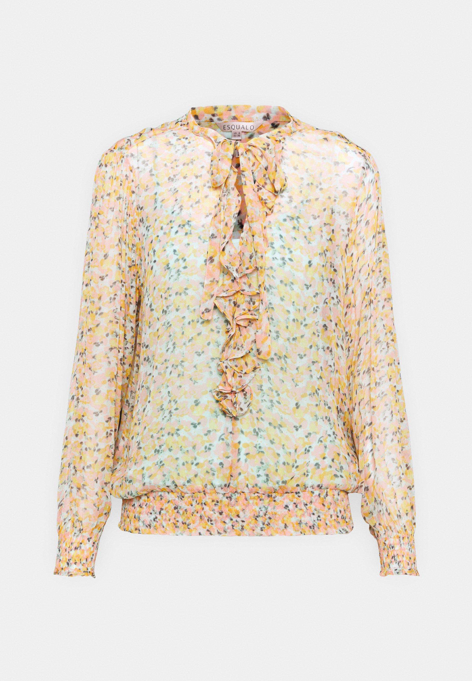 Women BLOUSE RUFFLE BOUQUET PRINT - Long sleeved top