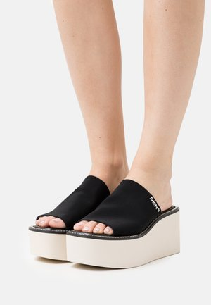 ADELYN WEDGE - Heeled mules - black