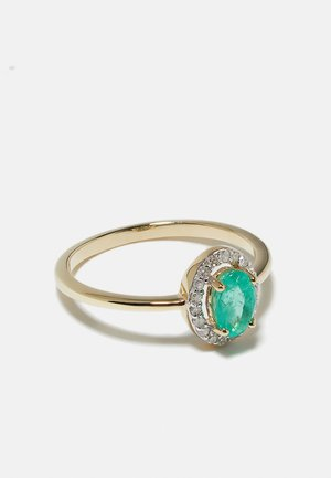 NATURAL DIAMOND RING 0.09 CARAT UND 0.43 CARAT EMERALDCARAT EMERALD HALO DIAMOND RINGS 9KT YELLOW GOLD DIAMOND JEWELLERY GIFTS FOR WOMENS - Ring - gold-coloured