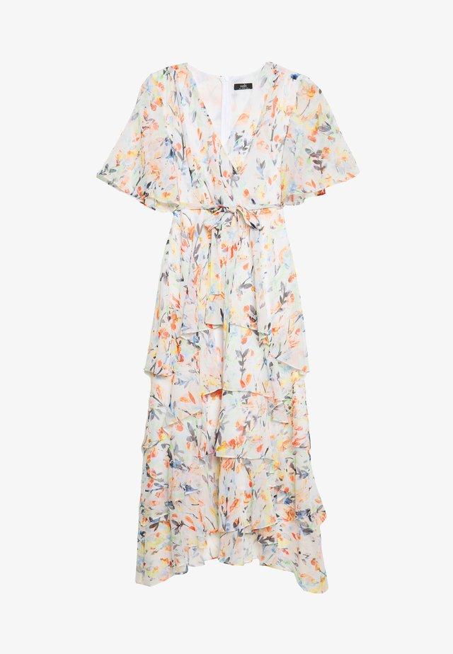 WATERCOLOUR LEAF TIERED DRESS - Sukienka letnia - ivory