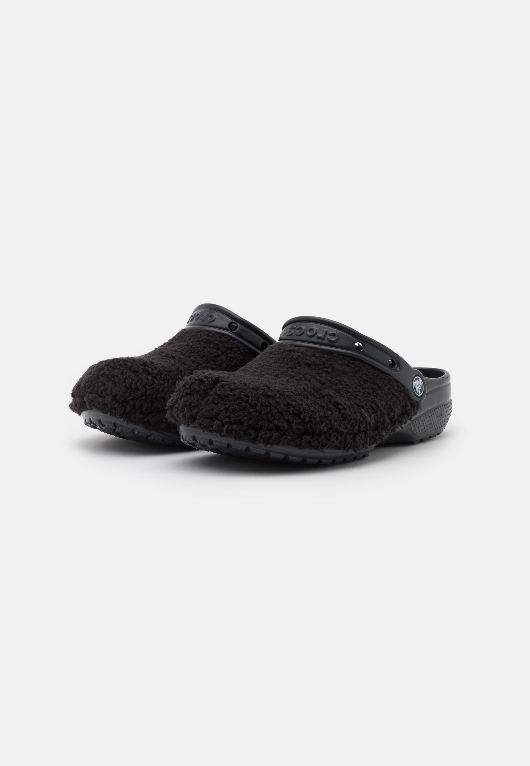 Crocs CLASSIC FUZZ MANIA CLOG Pantolette flach black/schwarz