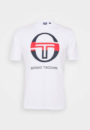 ATON HOODIE - Print T-shirt - white/navy/red