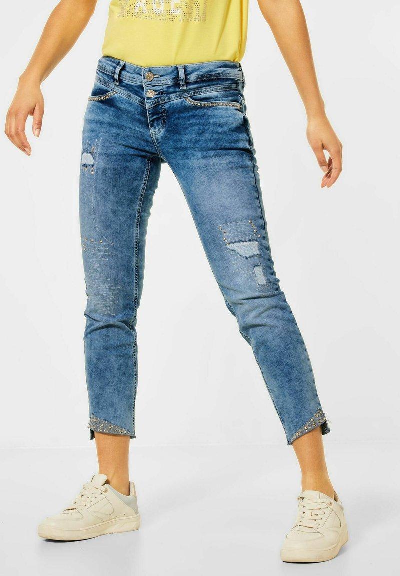 Street One - MIT NIETEN - Slim fit jeans - blau