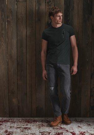 T-shirt print - volcanic black slub