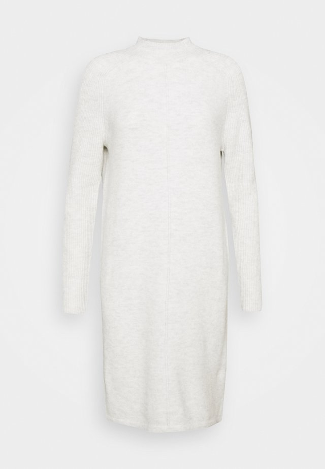 FUNNEL NECK SHIFT - Gebreide jurk - heather grey