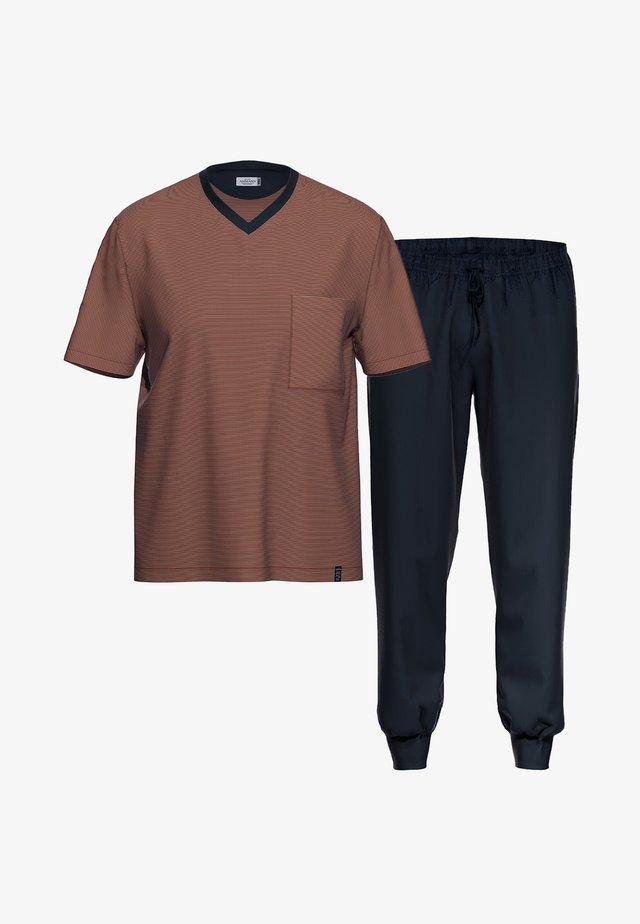 2 SET - Pyjama set - dunkelblau / rot gestreift