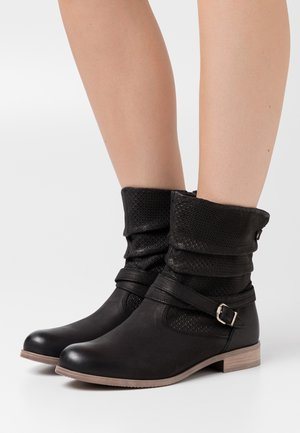 LEATHER - Botines camperos - black