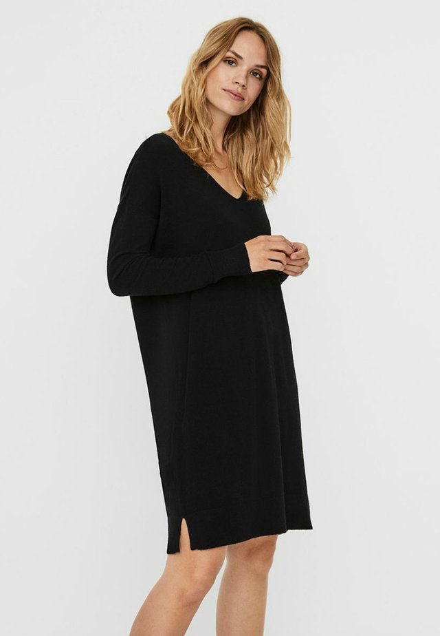 VMHOLLY V NECK LOOSE DRESS - Jumper dress - black