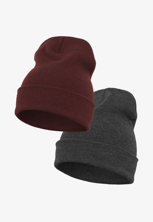 YUPOONG 2 PRE-PACK  - Beanie - charcoal/maroon