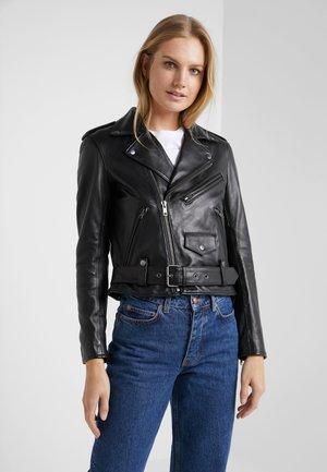 MOTO - Leather jacket - black