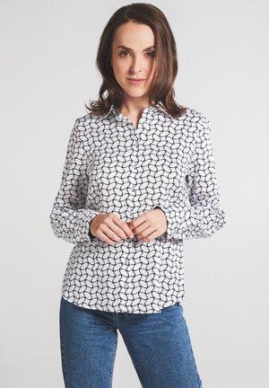 Button-down blouse - weiß/schwarz