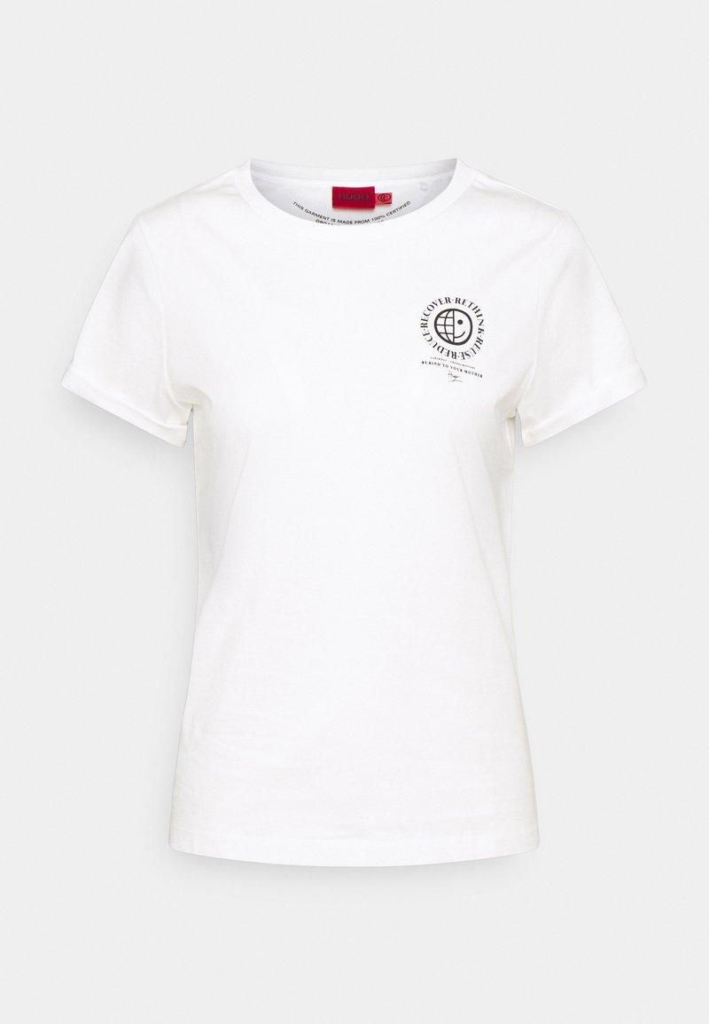 HUGO - THE EARTH TEE - T-shirt z nadrukiem - natural