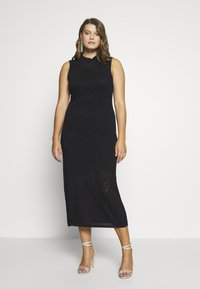 Lost Ink Plus - HIGH NECK MULTI COLUMN DRESS - Vestido de punto - black - 0