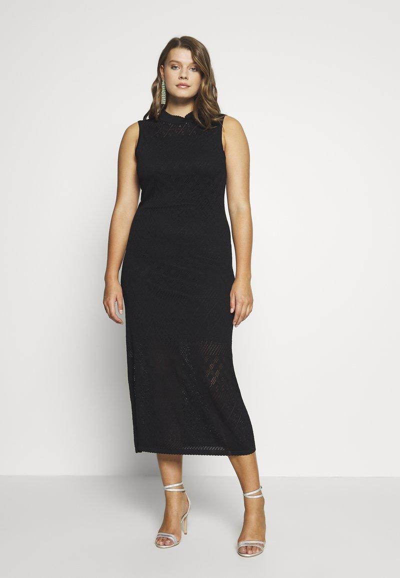 Lost Ink Plus - HIGH NECK MULTI COLUMN DRESS - Vestido de punto - black