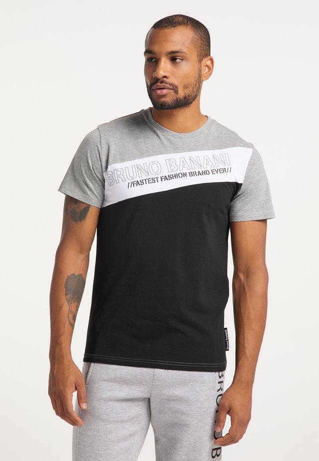 Print T-shirt - grau-schwarz