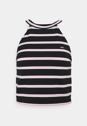 CROP STRIPED PUNTO - Topper - black