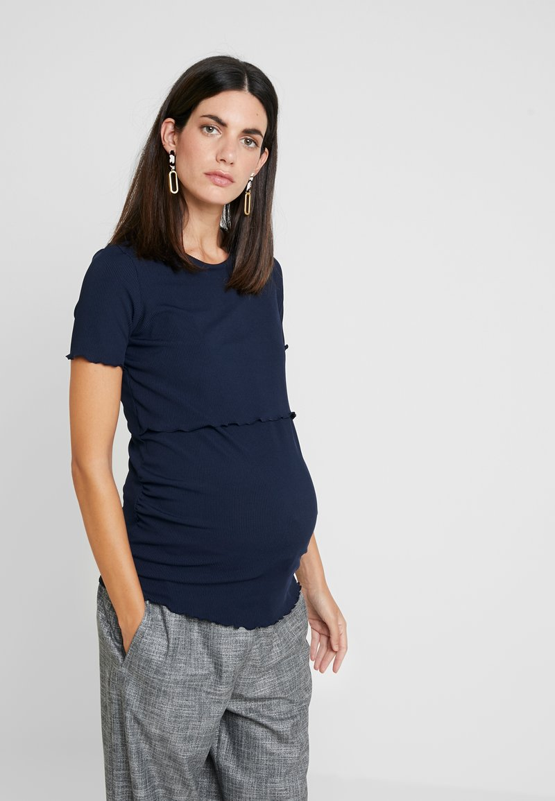 Dorothy Perkins Maternity - LAYERED NURSING TEE - T-shirt med print - navy