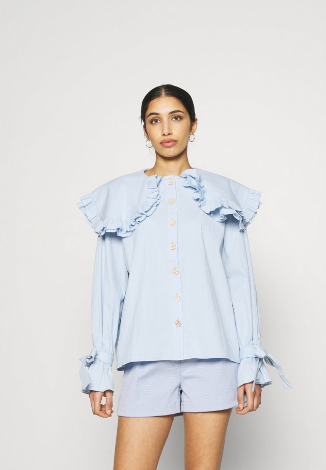NOTES OVERSIZED COLLAR BLOUSE - Button-down blouse - blue