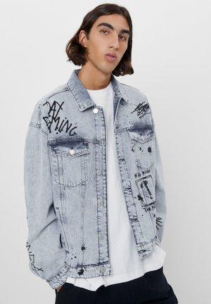 MIT GRAFFITI - Denim jacket - grey