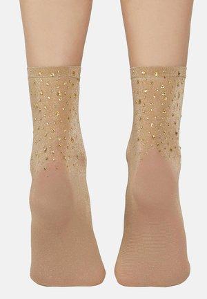 FLEURS  - Socks - braun -  gold beige glitter rhinestone
