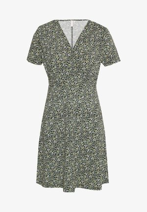 PCEMANUELLE DRESS - Vestido ligero - black/popcorn/green