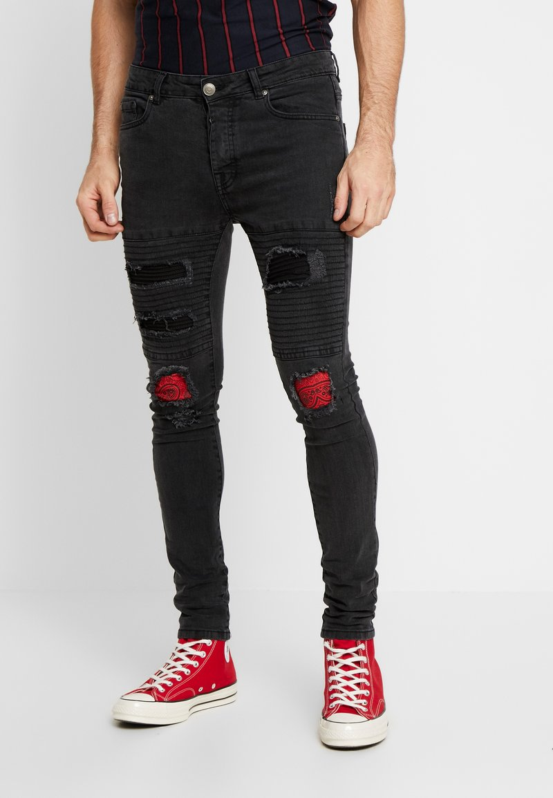 Brave Soul - NEVADA - Jeansy Skinny Fit - grey wash/red paisley