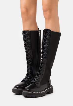 WIDE FIT KERRIE - Platform boots - black