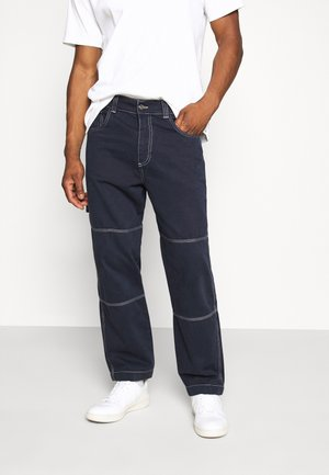 DRILL TROUSER WITH TOPSTITCH - Jean boyfriend - navy