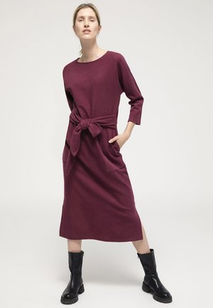 Gebreide jurk - weinrot