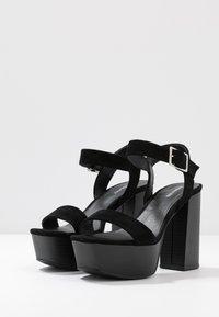 Even&Odd - LEATHER PLATFORM HEELED SANDAL - Korolliset sandaalit - black - 4