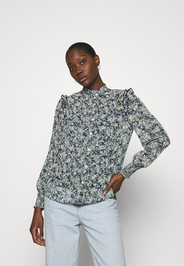 DITSY FRILL SLEEVE HIGH NECK - Blouse - blue