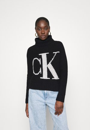 LOGO ROLL NECK - Jumper - black