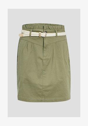 MIT GÜRTEL - Mini skirt - vert kaki
