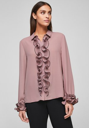 MIT PLISSEES - Button-down blouse - woodrose