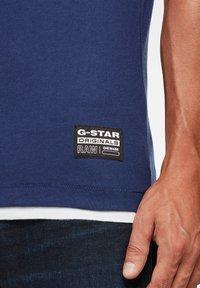 G-Star - FELT APPLIQUE LOGO SLIM ROUND SHORT SLEEVE - T-shirt imprimé - imperial blue - 3