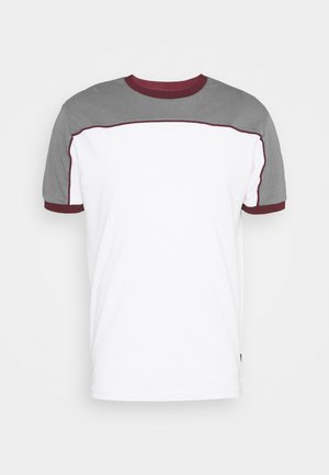 T-shirt z nadrukiem - grey/white/bordeaux