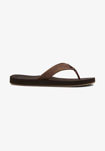 LEFT COASTA - T-bar sandals - brown/brown/brown