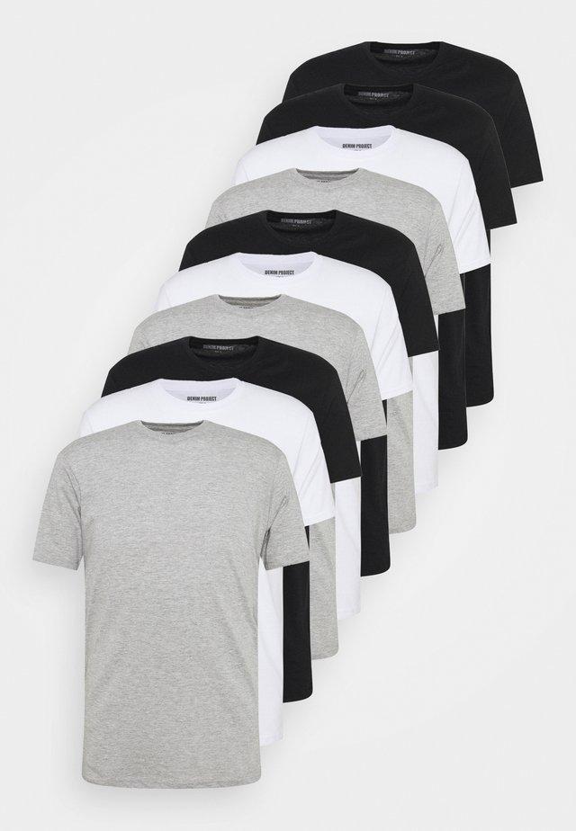 10 PACK  - T-paita - black/white/light grey melange