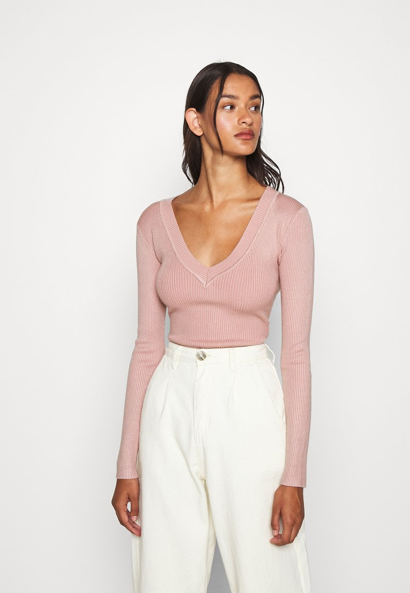 Missguided - NECK BODY - Sweter - pale pink