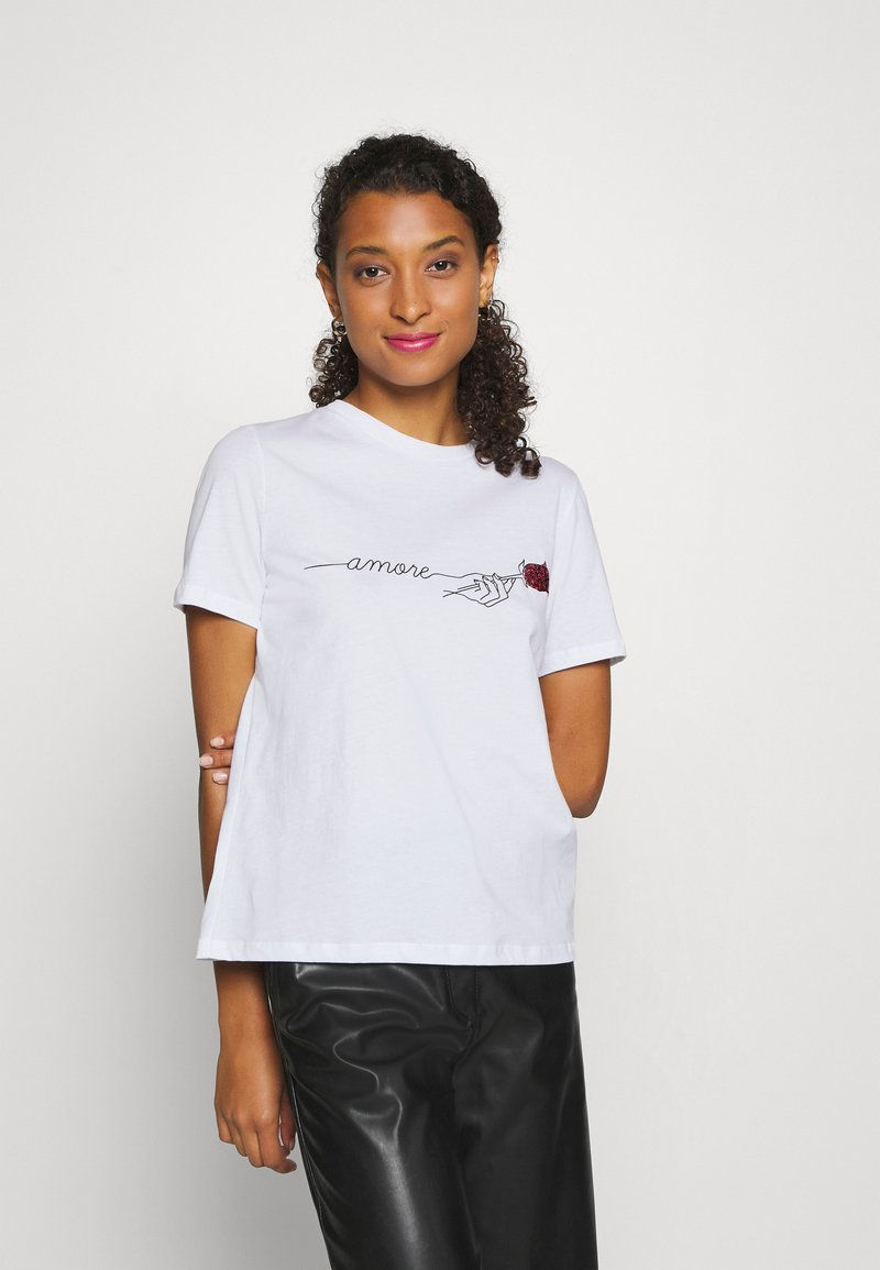 Pieces - PCAMORE SEQUINS TEE - Print T-shirt - white
