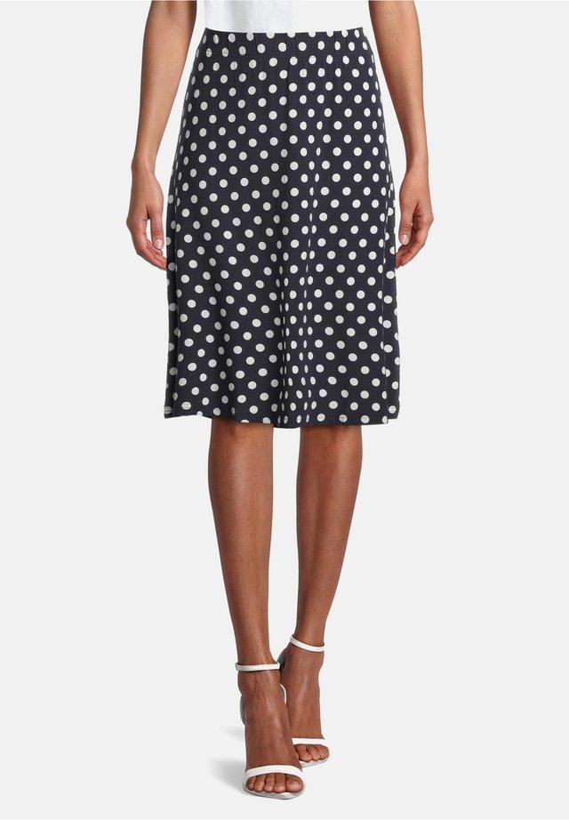 MIT PUNKTEN - A-line skirt - dunkelblau/weiß