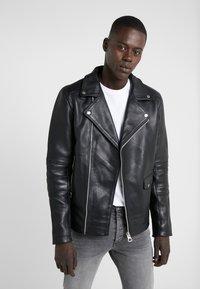Bruuns Bazaar - FELIX JACKET - Leather jacket - black - 0