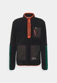 MIX FABRIC MOCK NECK UNISEX - Fleece jumper - black